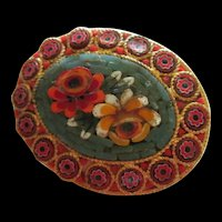 Grand Tour Mosaic Flower Brooch Italy
