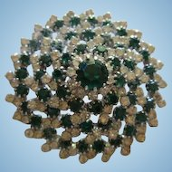 Stunning Emerald Green and Clear Crystal Rhinestone High Domed Vintage Brooch Pin
