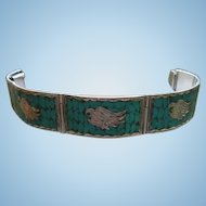 Taxco Sterling Silver Turquoise Inlaid Thunderbird Bracelet