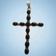 Huge Sterling Silver Onyx Vintage Cross Pendant 925