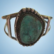 Amazing Native American Huge Turquoise Sterling Silver Hand Made Cuff Bracelet