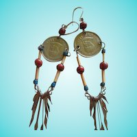 Boho Peruvian Coin Dangle Earrings