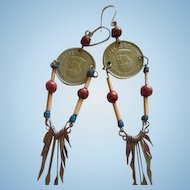 Funky Boho Peruvian Coin Dangle Vintage Earrings