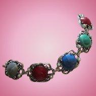 Fabulous Renaissance  Jeweled Cabs Silver Tone fx Pearls Statement Vintage Bracelet