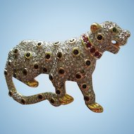 Rare Swarovski Signed Pave Crystal Panther Figural Animal Brooch 22kt Gold Plating