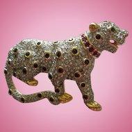 Rare Swarovski Signed Pave Crystal Panther Figural Animal Brooch 22kt Gold Plating