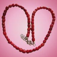 Wonderful Genuine Coral Vintage Necklace with Extender
