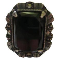 Art Deco Onyx Marcasite Sterling Silver  Ring