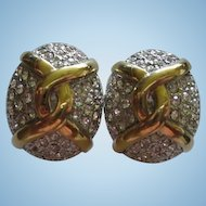 Carolee Elegant Sparkling Pave Statement Vintage Clip Earrings