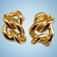 Christian Dior Classic Chain Gold tone Vintage Clip Earrings Signed