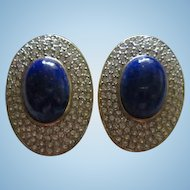 Lapis Sparkling Pave Set Clear Crystals Bold Oval Statement  Clip Earrings