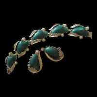 Coro Thermoset Teal Green fx Pearls Silver color Bracelet Earrings Set