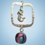 Fabulous Mermaid Dichroic art glass Sterling Silver Signed Pendant Necklace