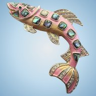 Fabulous Sailfish Figural Pink Enamel Abalone Swarovski Crystal Vintage Statement Brooch Pin