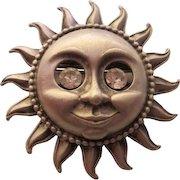 Signed Pewter finish Sunshine Happy Face Rhinestone Eyes Vintage Figural Brooch Pin
