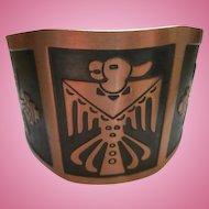 Wide Native American Copper Thunderbird Copper Signed Cuff Vintage Bracelet
