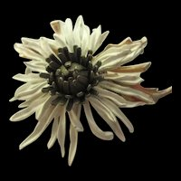 Fabulous Dimensional Realistic Enameled Vintage Flower Brooch Pin