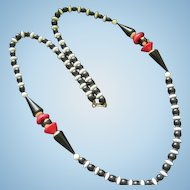 Dauplaise Fabulous Art Deco Design Black White Red Vintage Lucite 36 inch Necklace Signed Patent Number