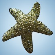 Swarovski Figural Star Fish Gold tone Retired Vintage Brooch Pin Swan Mark