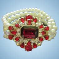 Dazzling Jeweled Red and Clear Rhinestone Triple Strand fx Pearl Vintage Bracelet