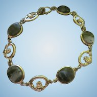 Fabulous Art Deco Nephrite Spinach Jade Claddagh Gold Plated Vintage Bracelet