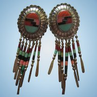 Gorgeous Navajo Native American Southwestern Inlaid Coral Turquoise Sterling Silver Vintage Signed Earrings