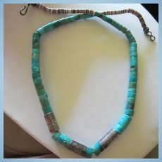 Native American Turquoise Heishi Bead Sterling Silver Etched Roadrunner Necklace
