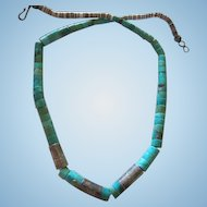Fabulous Native American Turquoise Heishi Bead Sterling Silver Etched Roadrunner Spacers Vintage Necklace