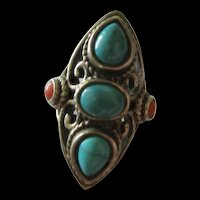 Stunning Turquoise Coral Southwest Sterling Silver Ring