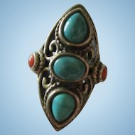 Stunning Turquoise Coral Southwestern Sterling Silver Vintage Ring