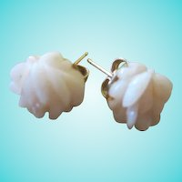Carved  Angel Skin Coral Flower Vintage Pierced  Earrings Signed 14K GF