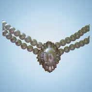 Ornate Crystal Rhinestone Center Double Strand fx Pearl Vintage Necklace