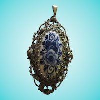 Fabulous Czech Delft Holland Ornate Pendant