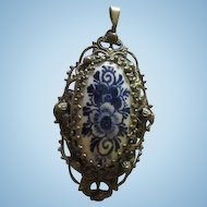 Fabulous Vintage Czech Delft Holland Ornate Vintage Pendant