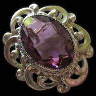 Gorgeous Danecraft Sterling Silver Huge Fully Faceted Amethyst Stone Vintage Brooch Pin Pendant