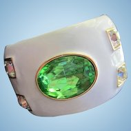 Stunning KJL Kenneth Lane Runway Statement Wide Enamel Peridot Green Crystal Vintage Bracelet