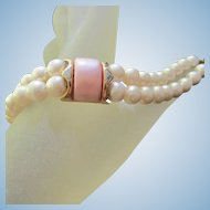 Napier signed Double Strand fx Pearls Pink Thermoset  Vintage Bracelet