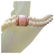 Napier signed Double Strand fx Pearls Pink Thermoset  Vintage Bracelet