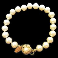 Gorgeous Miriam Haskell Signed fx Pearls Gold Flower Clasp Plated Vintage Bracelet