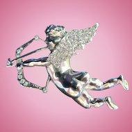 Naked Cherub Cupid Figural Bow Arrow Pave Crystal Brooch