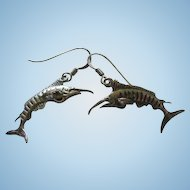 Sterling Silver Swordfish Figural French Wire Hanging Vintage Earrings