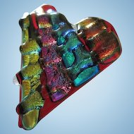 Incredible Dichroic Art Glass Jeweled Colors Heart Vintage Brooch Pin Pendant