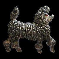 Adorable Marcasite Sterling Silver Poodle Figural Vintage Brooch Pin 925