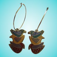 Early Laurel Burch Signed Three Dove Figural Enamel Vintage Hoop Earrings