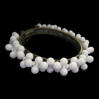 Miriam Haskell Signed White  Dog Bone circa 1940s Original Bangle Bracelet
