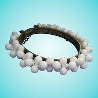 Miriam Haskell Signed White  Dog Bone circa 1940s Original Bangle Bracelet