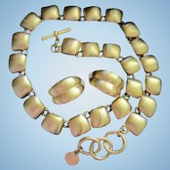 Classic Anne Klein Signed Bold Modernist Statement Necklace and Earrings Matte Gold Plate Vintage Set