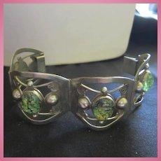Fabulous Taxco  Mexican Opal Far Fan Sterling Silver Hecho en Mexico 925 Four Panel Signed Art Deco Vintage Bracelet