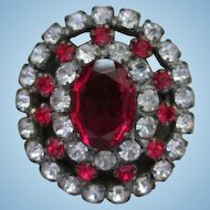 Gorgeous Czech Ruby Red and Clear Austrian Crystal Sparkly Vintage Brooch Pin