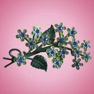 Delightful Green Blue Enamel Rhinestone 1960s Vintage Flowers Figural Brooch Pin